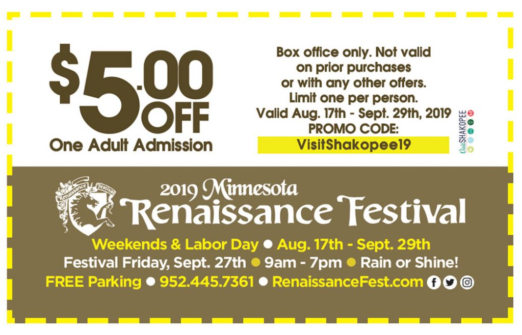 picture relating to Renaissance Festival Coupons Printable named Coupon codes - Stop by Shakopee