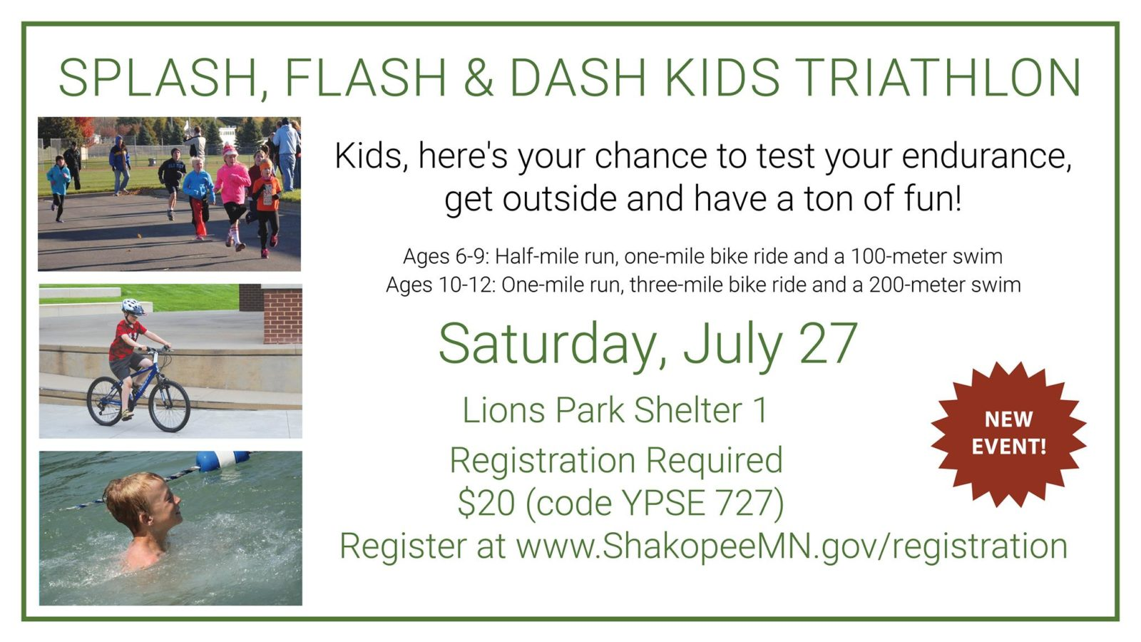Splash, Flash & Dash Kids Triathlon